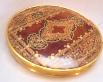 Art Deco Brown Leather with Gold Enamel Designs Compact