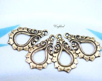 Earring Dangle Art Nouveau Antique Brass Teardrop Charms Pendants Drops - 4