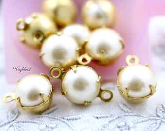 Set Stones Vintage Round Stones Connector Link Charms Dangles Brass Setting Pearlized Pearl Creme 8mm - 6