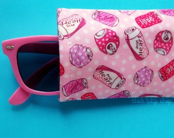 Eyeglasse Cases Sunglasses Case Sleeve Soft Lightweight Reading Glasses Cover Pink Love Soda Pop Cute Eyeglass Case Soft Glass Holder Pouch