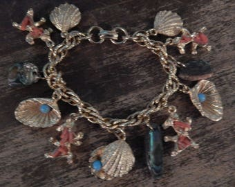 Vintage Gold Plated Charm Bracelet with Turquoise Coral Seashell Theme