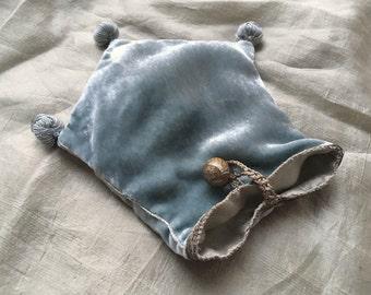 Silk velvet pouch with French antique metallic braid