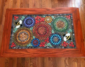 Solid Oak Stained Glass Mosaic Coffee Table