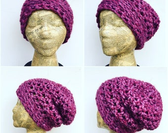 Slouchy, Beanie, Crocheted, Hat, Pink, Girly