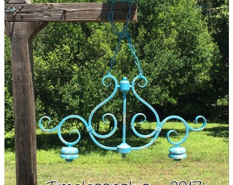 Pendant Light - Hanging Pendant Light  - Teal Pendant - Turquoise Pendant - Island Pendant Light - Large Pendant Light - Metal Pendant Light