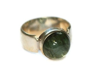 Green Rutilated Quartz Ring Sterling Ring Modernist Style Size 7.5