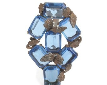 Faceted Blue Glass Dress Clip Floral Brass Overlay Art Deco Vintage