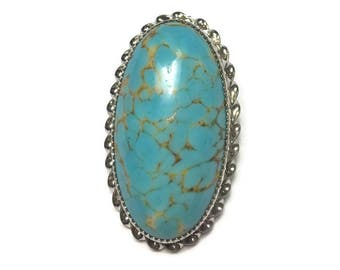 Turquoise Art Glass Pendant or Brooch Sterling Setting Vintage