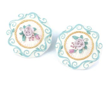 Applied Floral Design Ceramic Earrings Clip Backs Vintage
