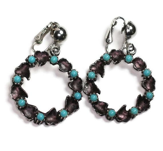 Turquoise Bead Dangle Earrings Purple Hearts Circles Hoops Clip On Boho Vintage