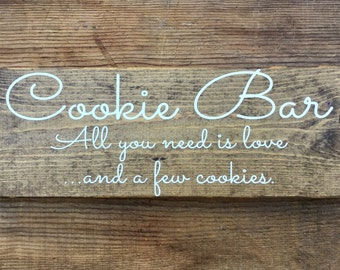 CooKie BaR SiGn - Dessert Table sign - Wedding Cake Sign - CuPCaKe SiGn - Calligraphy Lettering - Stained RuSTic WeDDing SiGn - 17 x 6