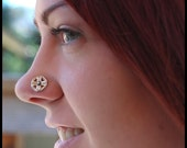 Silver Peekaboo Heart Button Coin Nose Stud / Sterling Silver Large Bold Jewelry - CUSTOMIZE
