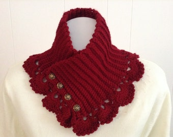 Neck Warmer in a Satin Soft Cranberry Red Color with Lace Crochet Trim - Scarf Alternative