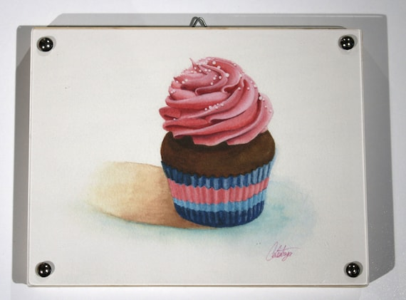 "Cupcake Print of watercolor painting, ""Pink Swirl""(horizontal) Framed"