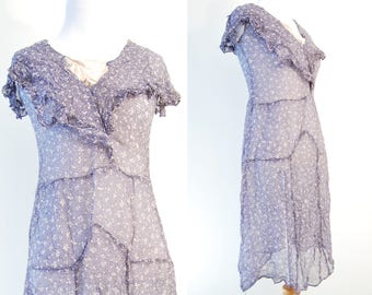 Antique 1930s Rayon Dress • PATTERN STUDY As Is Not in wearable condition • Blue Crepe Fabric with White Flowers and Stripes