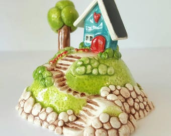 Little House on a Hill | Turquoise Blue House | House on a hill | Turquoise cottage | Terrarium Decoration | House Sculpture | Clay Cottage