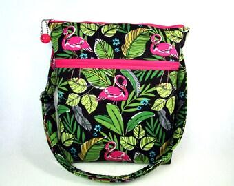 Flamingo Handmade Fabric Hip Bag / Custom Cross Body Purse