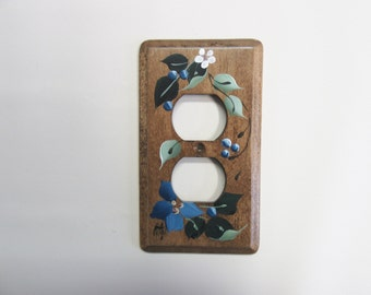 Outlet  Wood Switch Plate  with Blue Flowers