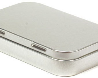 Tin rectangle hinged lidded container Altoid style