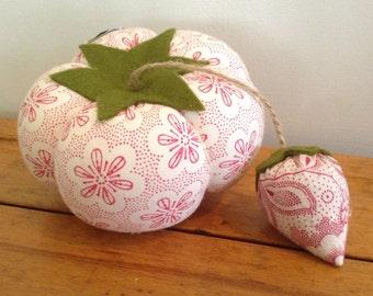 Vintage Textile Tomato Pin Cushion