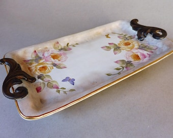 Pink and Yellow Rose Footed Tray