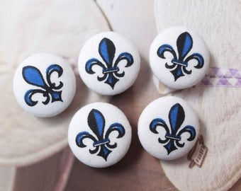 Retro French Style Black Navy Blue Fleur de Lis - Handmade Fabric Covered Buttons(0.98 Inches, 5PCS)