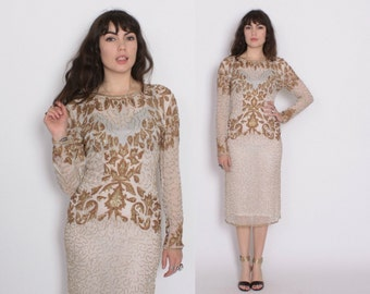 Vintage 80s BEADED DRESS / 1980s Gold & White Sequin Silk Party Dress S