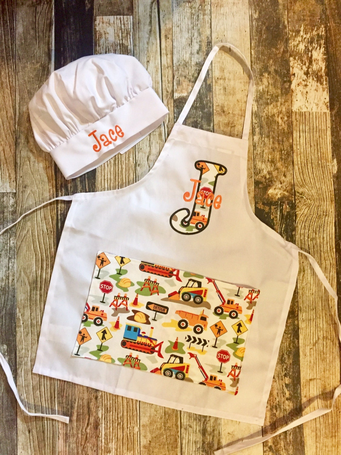 child 39 s apron and chef hat set personalized with name. Black Bedroom Furniture Sets. Home Design Ideas