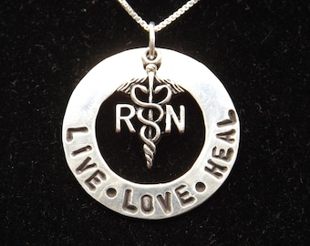 RN Live Love Heal necklace, Nurse necklace, Nurse Graduation necklace, Nurse Gift, RN jewelry, RN graduation gift, Nursing student gift