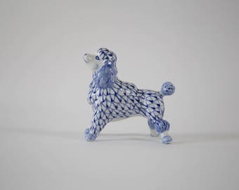 Blue & White Poodle Figurine