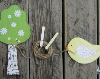 BIRD & TREE Kids Art Display Clips - Original Hand Painted Wood