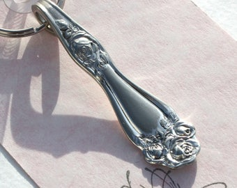 American Beauty Rose Spoon Key Chain, Spoon Key Ring, Rose, Roses, Vintage Silverware, Vintage Spoon Keychain