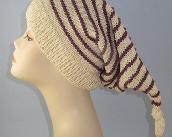 50% OFF SALE Instant Digital File PDF Download Knitting Pattern - Stripe Topknot Pixie Hat