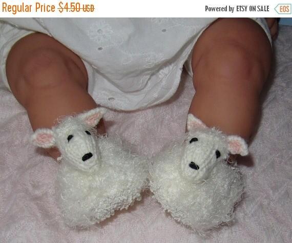 50% OFF SALE Digital pdf file knitting pattern -madmonkeyknits Baby Sheep Shoes pdf download knitting pattern