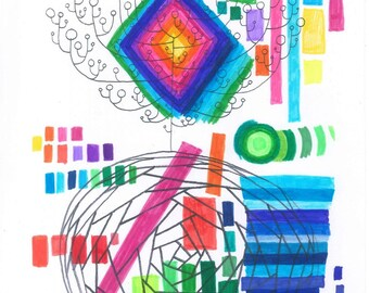 Psychic Sudarium No.5 - Abstract Art - Original Ink Drawing - Pure Psychic Automatism