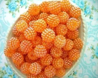 Berry Beads - Tangerine Orange - 15mm - Set of 20