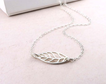Modern Silver Leaf Necklace