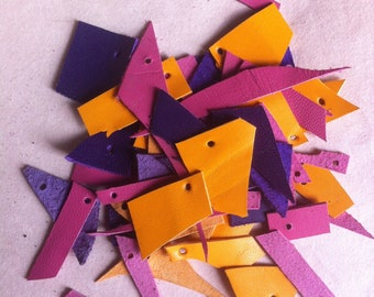 Leather scraps, yellow, pink, violet