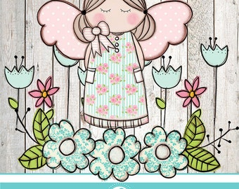 Flower Angel clipartS - COMMERCIAL USE OK