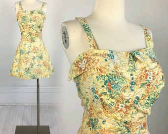 Vintage 1950s Marco SWIMSUIT Romper Playsuit pin-up floral size 40 L vlv petal bust dress 50s rockabilly swimwear bathing one piece suit