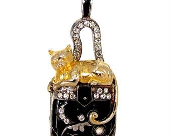 EDGAR BEREBI CAT Pendant Nine Lives Locket Rhinestone Purse Limited Edition