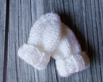 Preemie Size Baby Mittens 3 - 5 lbs, Hand Knit White No Thumb Hand Mitts, Ready To Ship, Boy Girl Hand Warmers Gender Neutral Infant Clothes