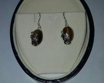 Vintage Sterling Silver Tigers Eye Earrings