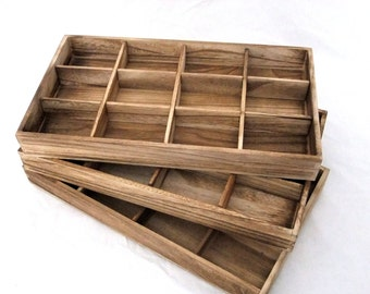 Rustic Antique Oak Color Bead Sorting Tray With 12 Slots Package Of 3  SALE