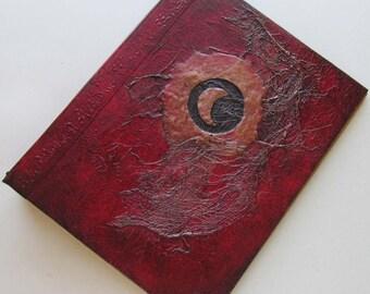 Handmade Refillable Journal Red Eclipse Moon 9x7 Original