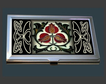 Business Card Case - featuring an Art Nouveau Tile (Pomegranate)