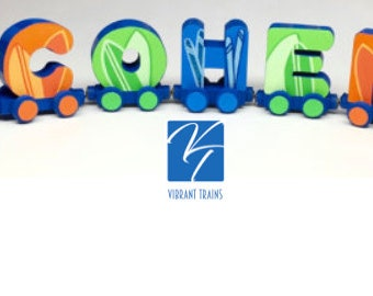 Custom FIVE LETTER Name Train Any Style or Design with Engine and Caboose, Hand Painted for you by Vibrant Trains