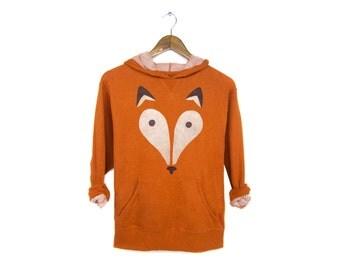 Geo Fox Hoodie - Midweight Hooded French Terry Pullover Sweatshirt in Burnt Orange Heather - Women's Size S-XL