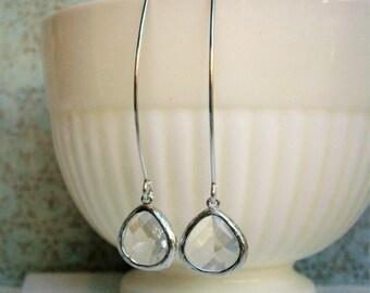 Crystal Clear Earrings, Silver Earrings, Wife Gift, Girlfriend, Best Friend, Mom, Sister, Girlfriend, Mother