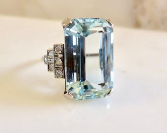 Circa 1950 16.57 Carat Aquamarine and Diamond Ring